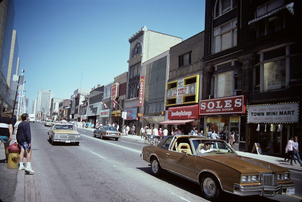 Yonge Street, across from the Eaton Centre and looking north, Toronto, Ontario, Canada